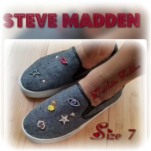 Steve Madden Gray Flannel Gerry Pins Sneakers